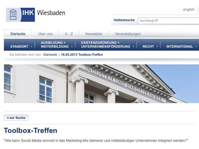 16.05.2013 IHK Wiesbaden Toolboxtreffen Vortrag Pia Lauck