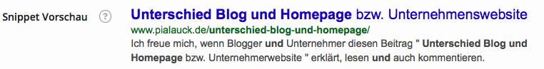 Unterschied Blog und homepage