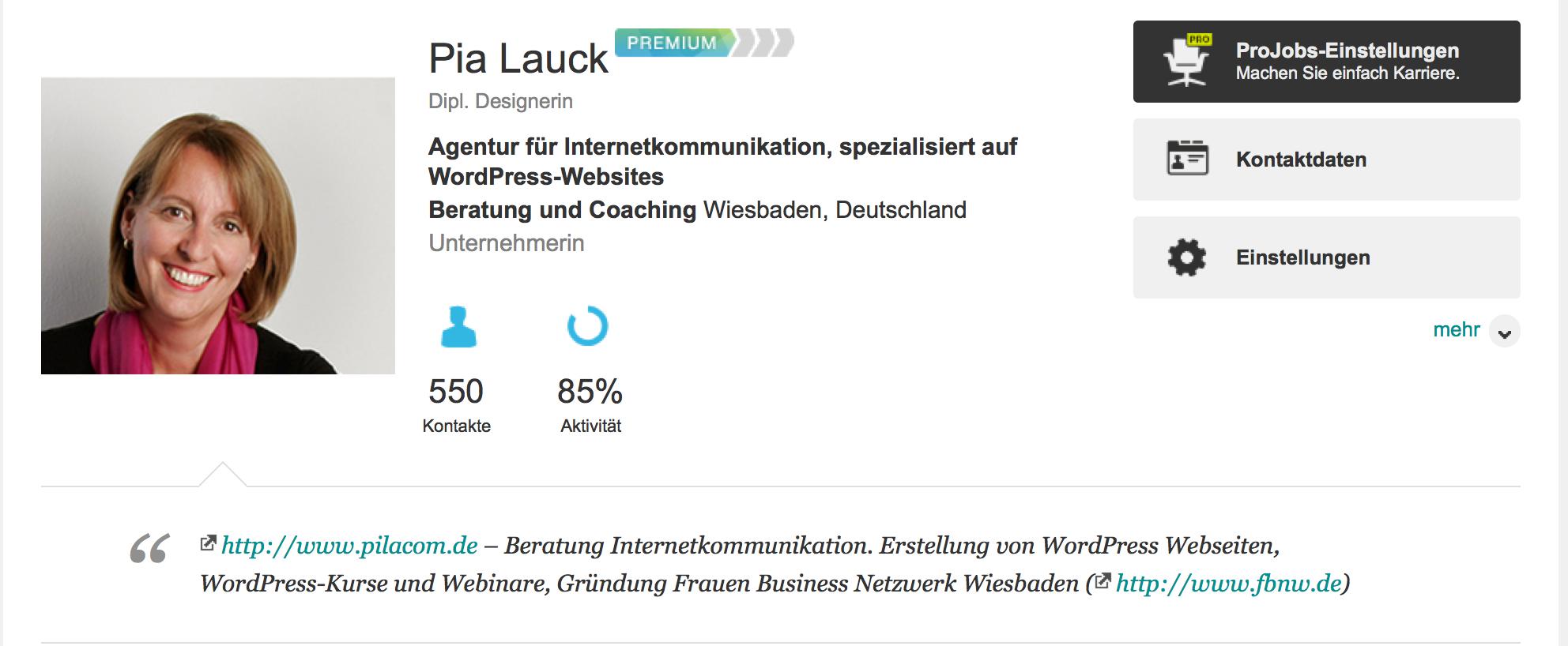 XING Profil Pia Lauck