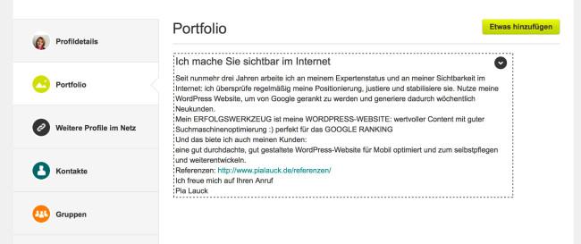 XING Portfolio Anleitung 5