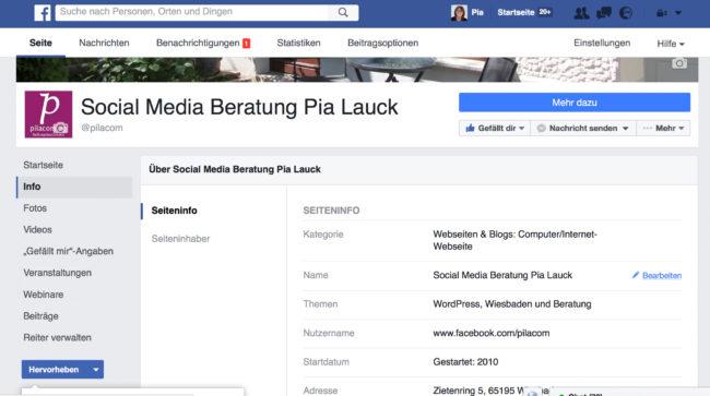 Facebook Seite Namen ändern