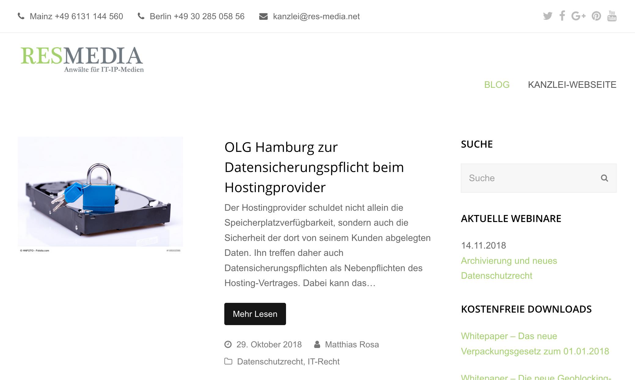 Blog IT Recht, Res Media